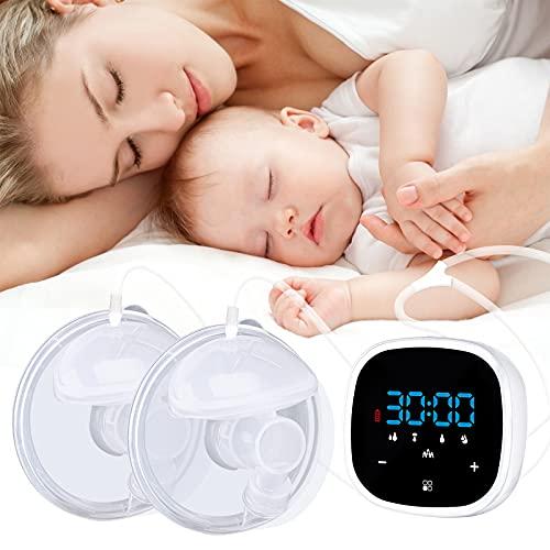 Bomba de mama eléctrica doble, bombas de lactancia silenciosas de alta frecuencia con pantalla táctil LCD bombas de lactancia manos libres (cinco modos)