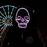 Halloween Horror LED Mask Lights Latex Skull Mask Festival Cosplay Costume Party Changeable Party Halloween Costume - (White Purple)