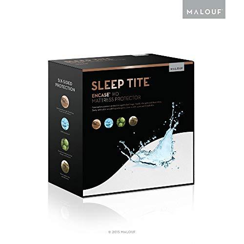 MALOUF SL0PSQEP Sleep TITE HD Lab Certified Bed Bug Proof Mattress ENCASE HDment Protector-Hypoallergenic-100% Waterproof-15 Year Warranty-Vinyl Free-Split Queen, White