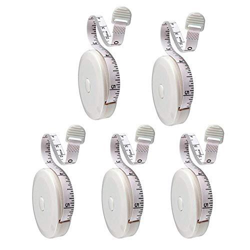 Maßband einziehbare, Double-scale Maßbänder 5 Stück Flexible Maßband mit Push-Button für Körper Messung Bekleidung Gewichtsverlust 150cm / 60 Zoll(Weiß)