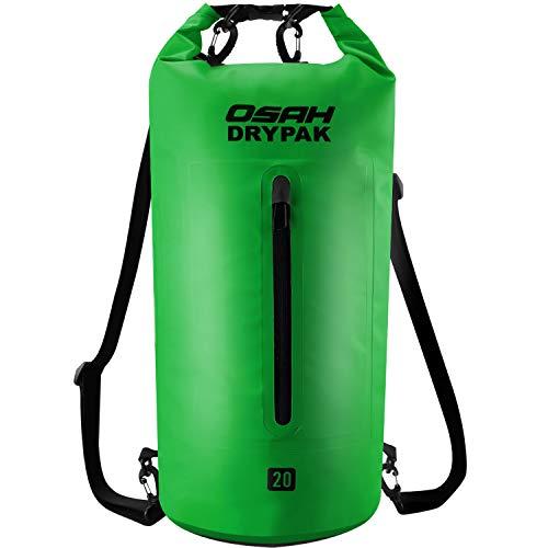 OSAH DRYPAK Premium Bolsa Estanca Seca Impermeable 5L 10L 15L 20L 30L para Kayak Barco Pesca Rafting Playa Acampar Natación Deriva (Verde, 15L)