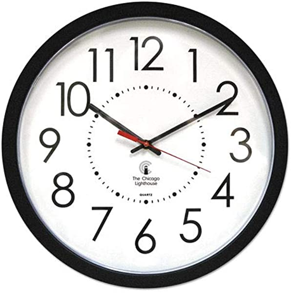 5COU Chicago Lighthouse 67801103 Electric Contemporary Clock 14 1 2 Inch Black