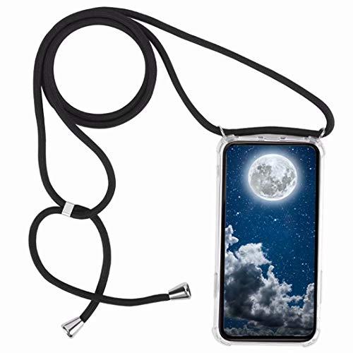 Funda con Cuerda para Motorola Moto G7 Play,Moda y Practico Carcasa de TPU Mate Case Cover con Colgante/Cadena,Negro