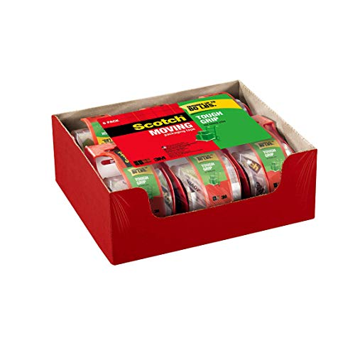 Scotch Tough Grip Moving Packaging Tape, 1.88'x 22.2 yd, Strong Hold on All Box Types Including Recycled, Secures Boxes up to 80 lbs, 1.5' Core, Clear, 6 Dispensered Rolls (150-6)
