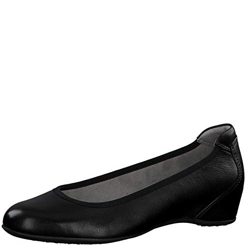 Tamaris Damen Pumps 22471-24, Frauen Keilpumps, Lady Ladies feminin Women's Woman Freizeit leger Keilabsatz elegant,Black Suede,38 EU / 5 UK