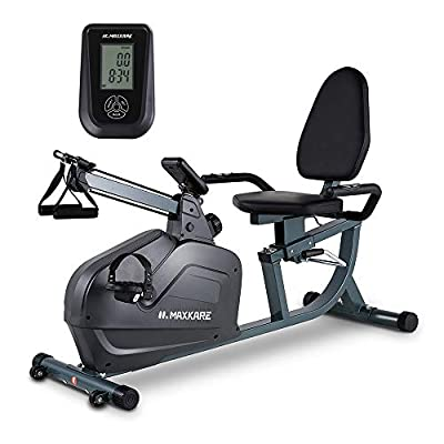 MaxKare Recumbent Exercise Bike Magnetic Indoor Stationary Bike with Tension Ropes,8 Level Adjustable Resistance,LCD Monitor and Adjust Seat for Home Use