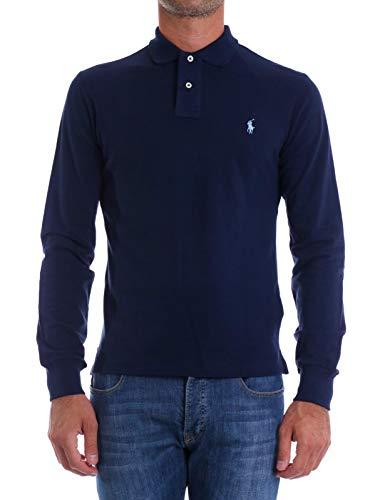 Polo Ralph Lauren LS Slim Fit Mesh Polo, Blu (Newport Navy A413b), S Uomo