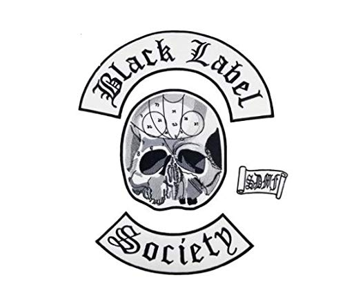 Black Label Society Patch Biker Back for Mens Vest Clothing Skull Head Rocker Patches Rock and Punk Patch Embroidery 4Pcs As Set