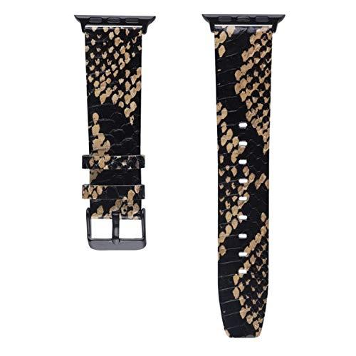 KAAGGF Verdadera Hecha a Mano de Piel de Serpiente de la Piel for Apple Band Reloj 38mm 40mm 42mm 44mm Pulsera de Cuero for la Correa de IWatch Serie 1 2 3 4 5