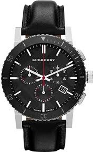 Swiss Burberry Luxury Chronograph Reloj Hombres Unisex Mujeres La Ciudad Negro Cuero Dial Fecha Bisel de Cerámica BU9382