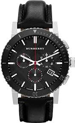 Swiss Burberry Luxus Chronograph Uhr Herren Unisex Damen The City Schwarz Leder Schwarz Datum Zifferblatt Keramik Lünette BU9382