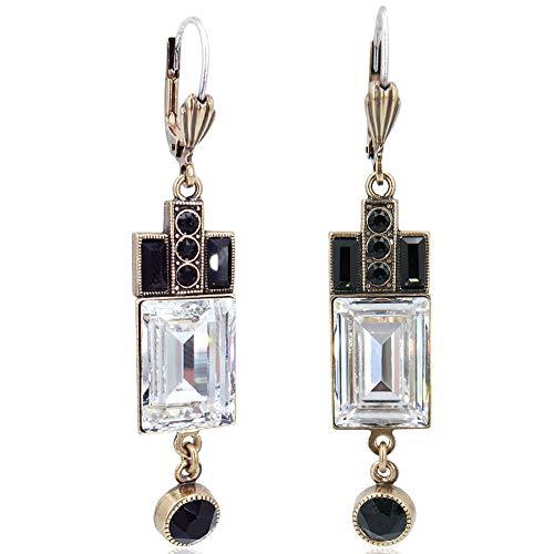 Artdeco Ohrringe Gold mit Kristallen von Swarovski® - Ohrhänger von NOBEL SCHMUCK