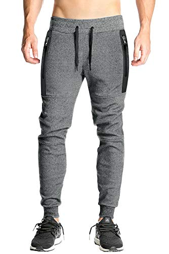 FASKUNOIE Men's Sports Pants Elastic Drawstring Sweatpants Running Casual Trousers Deep Gray