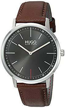 HUGO by Hugo Boss Men s Stainless Steel Quartz Watch with Leather Strap Brown 20  Model  1520014
