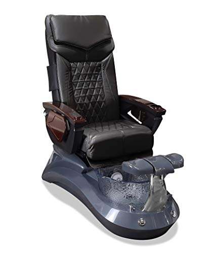 LOTUS II 18 LX Shiatsulogic Pedicure Chair Grey-Crystal w/Discharge Pump Stylish Pedicure Tub with Pipe-less Whirlpool system Perfect for all Pedicure Spa, Black