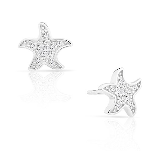 Tilo Jewelry Small Sterling Silver Starfish Stud Earrings with Cubic Zirconia