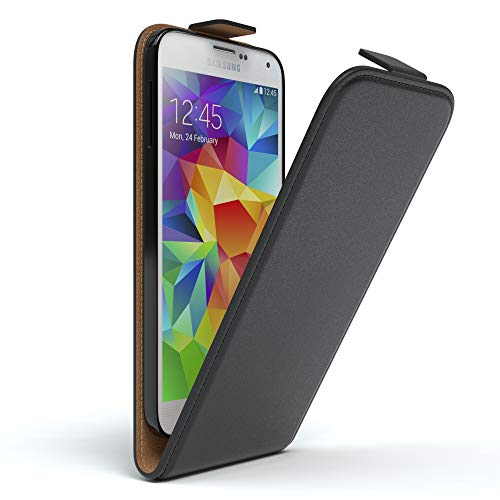 EAZY CASE Hülle kompatibel mit Samsung Galaxy S5/LTE+/Duos/Neo Hülle Flip Cover zum Aufklappen, Handyhülle aufklappbar, Schutzhülle, Flipcase, Flipstyle Hülle vertikal klappbar, Kunstleder, Schwarz