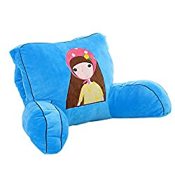 Cute doll reading pillow for kids girls blue