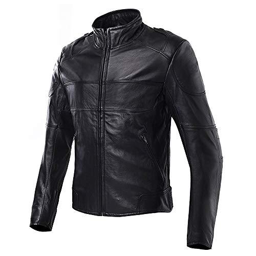 XEPAJS Cuero Genuino Hombres Chaqueta Moto con Armadura para Motociclista, Impermeable Chaquetas para El Cuerpo, Cordura Protecciones en Codos Hombros y Espalda (Negro, S-3XL)