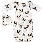 Milkbarn Organic Newborn Gown & Hat Gift Set (Chickens)