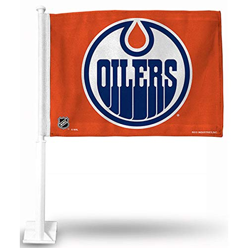 Rico NHL Oilers Car Flag, Orange, 8 x 1, Logo Color