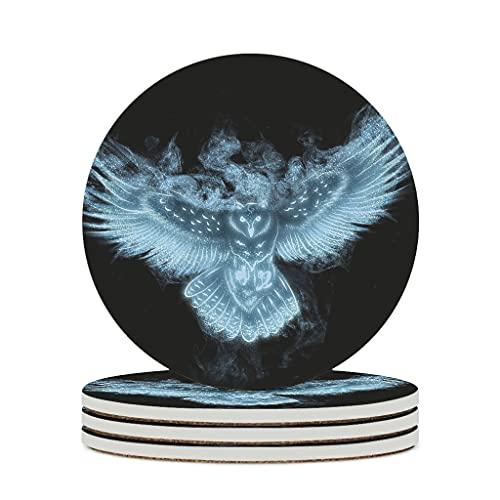 Facbalaign Posavasos de cerámica con iluminación azul, con base de corcho resistente a los arañazos, olor neutro, 4 unidades, color blanco