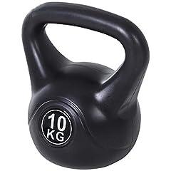 Idea Regalo - homcom Kettlebell da 10 kg per Sport e Fitness in PVC con Sabbia e Maniglia Liscia Anti-Sfregamento