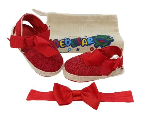 Sandalias de bebé niña de Verano de algodón con Diadema elástica con Lazo a Juego y Bolsa de Transporte de algodón orgánico. De 0 a 6 Meses. (Rojo, Numeric_18)