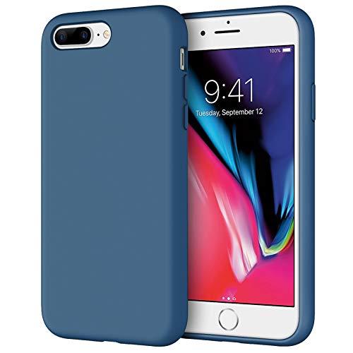 JETech Funda de Silicona Compatible iPhone 7 Plus, iPhone 8 Plus, 5,5', Sedoso-Tacto Suave, Cubierta a Prueba de Golpes con Forro de Microfibra, Azul Cobalto