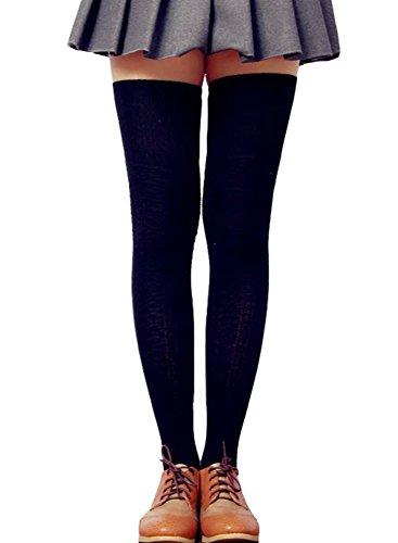 Lsharon, calze alte da donna sopra il ginocchio e coscia Nero M