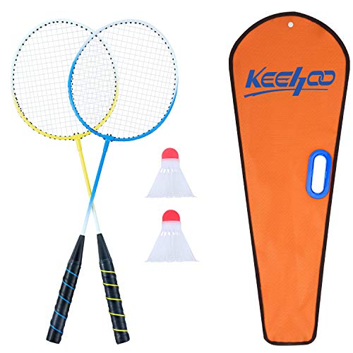 Keehoo 2 Player Badminton Rackets Set-Lightweight & Sturdy-Double Racquets, 2 Shuttlecocks and Carrying Bag Included