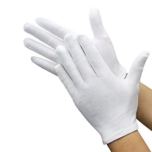Baumwollhandschuhe, Handpflege, Arbeitshandschuhe, fusselfrei, Größe XL, 12 Paar, Weiß