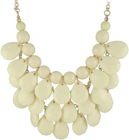 gift Our shop most popular white 3 row teardrop Statement Necklace Chunky Bubble Jewelry