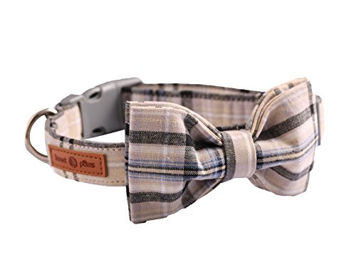 Lionet Paws Dog and Cat Collar with Bowtie Grid Collar Plastic Buckle Light Adjustable Collars for Small Medium Large Dogs