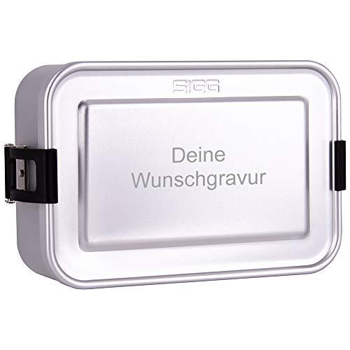 SIGG Lunchbox mit Gravur personalisiert, silber   leichte Brotdose aus Aluminium, BPA frei, auslaufsicher, mit herausnehmbarer Trennwand, perfekt geeignet für Schule, Kindergarten oder für die Arbeit