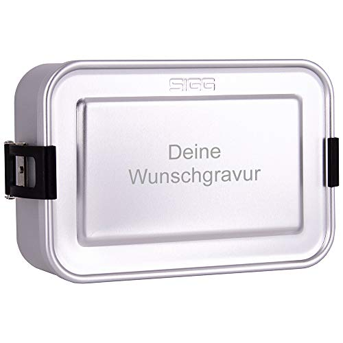 SIGG Lunchbox mit Gravur personalisiert, silber | leichte Brotdose aus Aluminium, BPA frei, auslaufsicher, mit herausnehmbarer Trennwand, perfekt geeignet für Schule, Kindergarten oder für die Arbeit