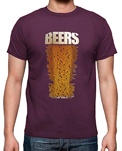 latostadora - Camiseta Tipos de Cerveza para Hombre Burdeos XL