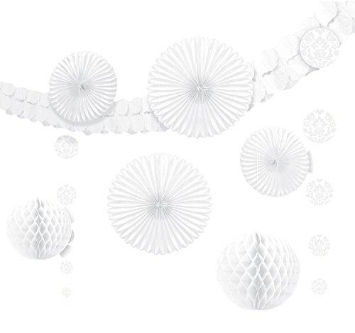 Amscan 10119789 249263 Dekorationsset zum Aufhängen, Textil, Weiß