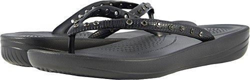 FitFlop Women's Iquishion Crystal Ergonomic Flip Flops Slide Sandal, Black, 6 M US