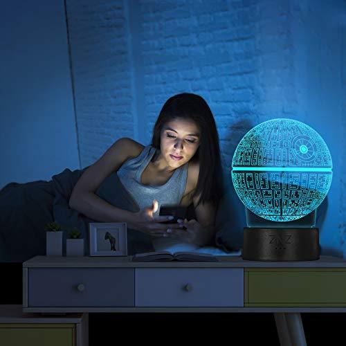 3D LED Star Wars Luz de noche, Lámpara de ilusión Death Star + R2-D2 + Millennium Falcon, Tres patrones y 16 colores Lámpara de decoración Cambio - Regalo perfectos para niño - 3 paquete