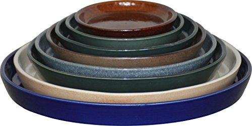 K & K sotto guscio/sottobicchiere rotondo per bonsai guscio/Ciotola piante Halle, Ø 26cm, antico in gres (ceramica di alta qualità)
