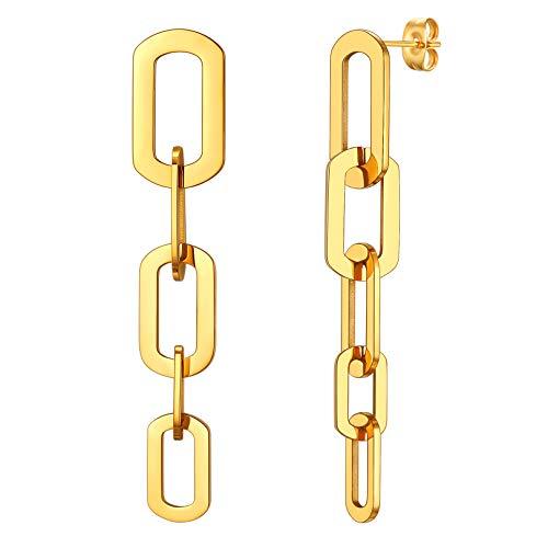 FOCALOOK 18k vergoldet Ohrringe für Damen Mädchen goldfarben Kette Design baumeln Ohrringe 61mm lang Hängeohrringe trendiger Modeschmuck Accessoire für Valentinstag Jahrestag