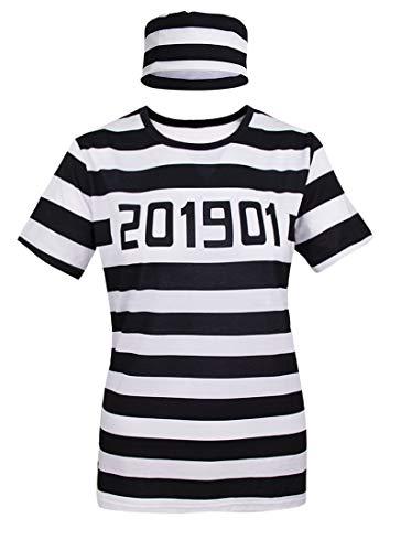 COSAVOROCK Mujer Disfraz de Convicto Camiseta con Sombrero (L, Raya)