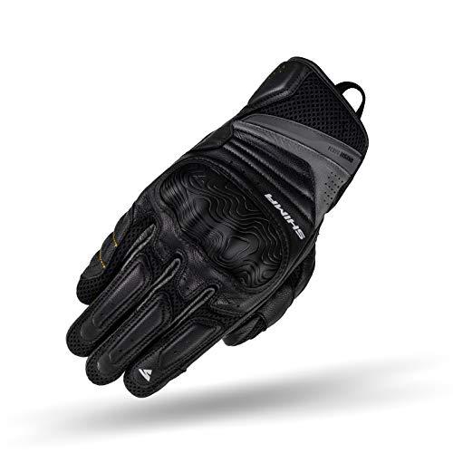 SHIMA RUSH GLOVES MEN BLACK, Leder kurze Motorradhandschuhe mit Protektoren (Schwarz, XL)