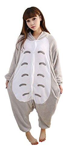 WOWcosplay Jumpsuit Tier Cartoon Fasching Halloween Kost¨¹m Sleepsuit Cosplay Fleece-Overall Pyjama Schlafanzug Erwachsene Unisex Kigurumi Tier ,Totoro XL