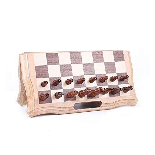 LULIJP Chess Wooden Board International Wooden Chess Board Game Checkers Modern Hand Carved Table Games Portable Folding Checker Gifts Accessories