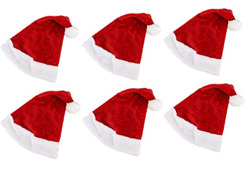 Quickdraw 6 x Santa Hats Adults Father Christmas Red Novelty Bobble Fancy Dress Accessory