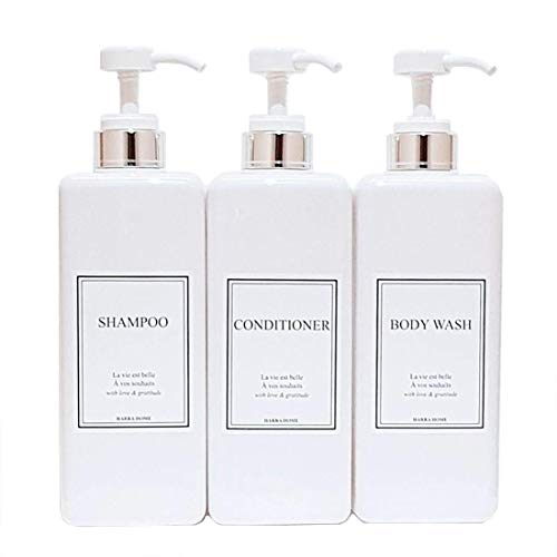 HARRA HOME Modern Gold Design Pump Bottle Set 27 oz Refillable Shampoo and Conditioner Dispenser Empty Shower Plastic Bottles with Pump for Bathroom Lotion Body wash, Pack of 3 (White & Silver)