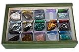 Colección de 15 Minerales de La Comunidad de Madrid en Caja de Madera Natural - Minerales Reales educativos con Etiqueta informativa a Color. Kit de Ciencia de Geología para niños.