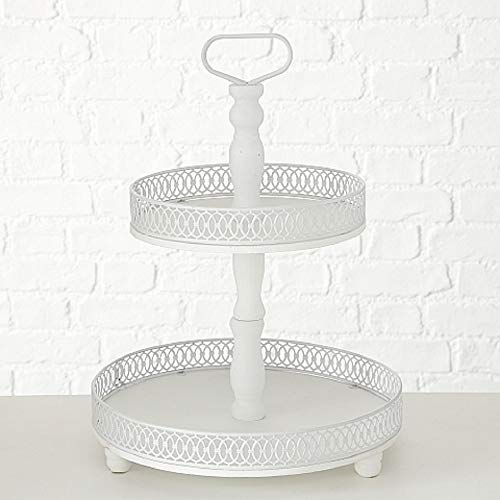 Home Collection Deko Etagere 2-stufig H48cm Weiss Tanne Material:Eisen+Tanne/LAT. Abies